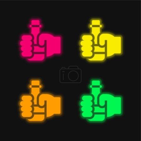 Illustration pour Bière quatre couleurs rougeoyantes icône vectorielle néon - image libre de droit