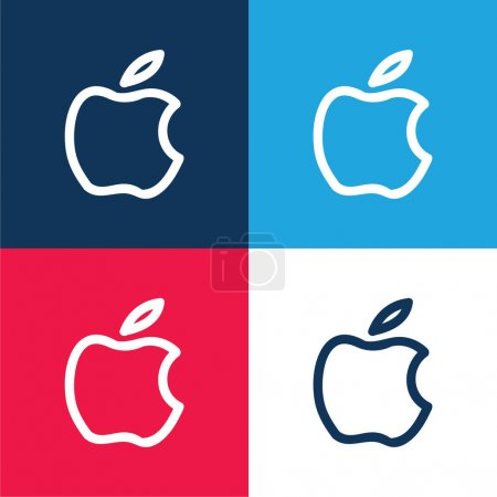 Apple Brand Hand Drawn Logo Outline blue and red four color minimal icon set