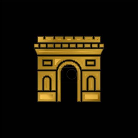 Illustration pour Icône métallique plaqué or Arc De Triomphe ou vecteur de logo - image libre de droit