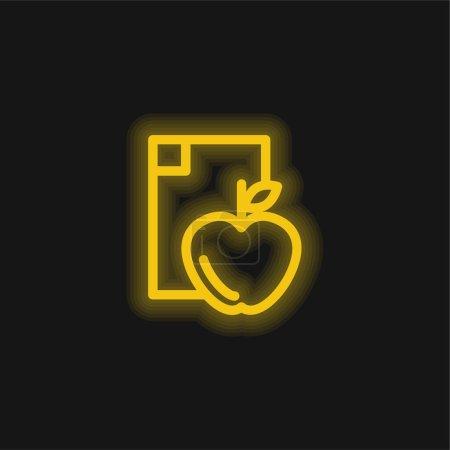 Photo pour Apple Diet jaune flamboyant icône néon - image libre de droit