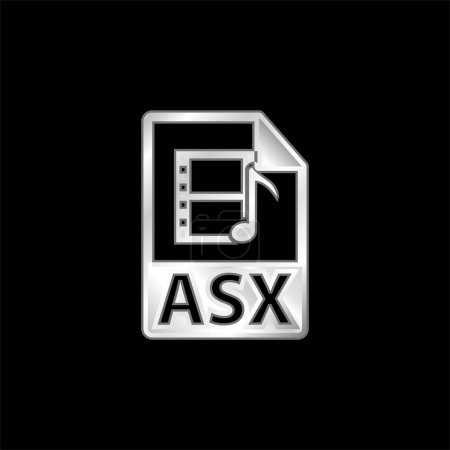 Illustration for ASX Multimedia File Format silver plated metallic icon - Royalty Free Image