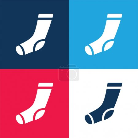 Athletic Sock blue and red four color minimal icon set