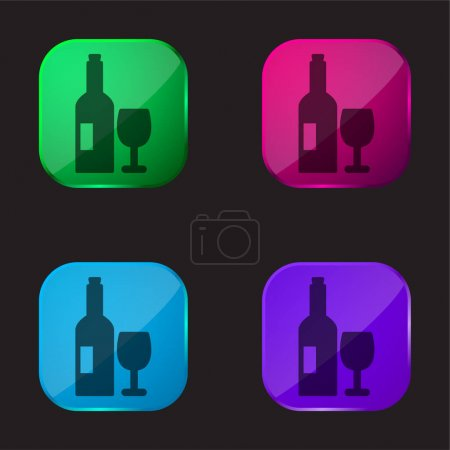 Illustration pour Bouteille et verre de vin icône bouton en verre de quatre couleurs - image libre de droit