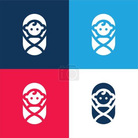 Photo pour Ensemble d'icônes minime bébé bleu et rouge à quatre couleurs - image libre de droit