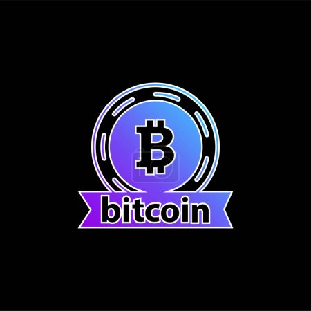 Illustration for Bitcoin Emblem blue gradient vector icon - Royalty Free Image