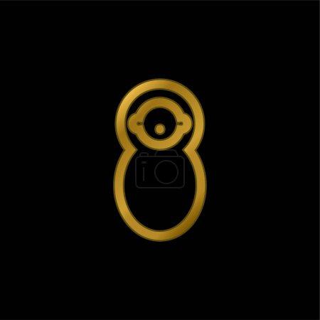 Illustration pour Baby Wrapped In Swaddle icône métallique plaqué or ou logo vecteur - image libre de droit