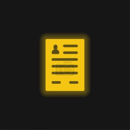 Application Form yellow glowing neon icon