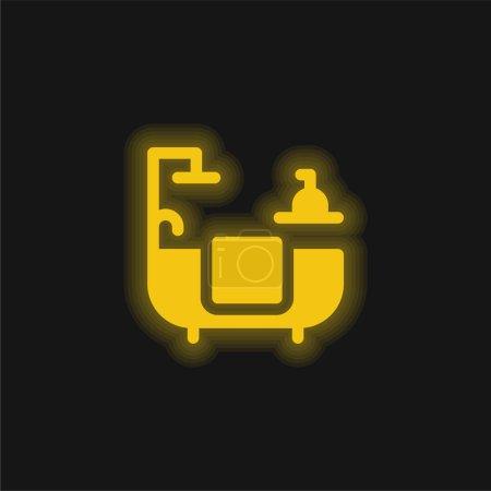 Salle de bain jaune brillant icône néon