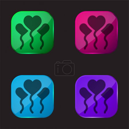 Illustration for Balloons four color glass button icon - Royalty Free Image