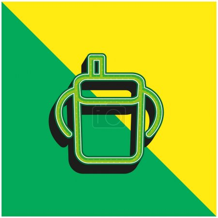 Photo pour Bébé bouteille à boire contour avec poignées latérales vert et jaune moderne logo icône vectorielle 3d - image libre de droit