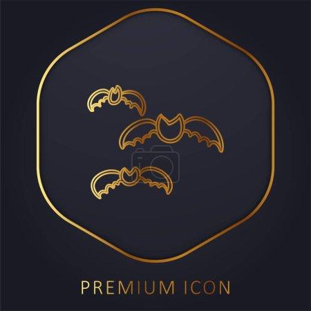 Foto de Grupo de murciélagos Esquema de línea dorada logotipo premium o icono - Imagen libre de derechos