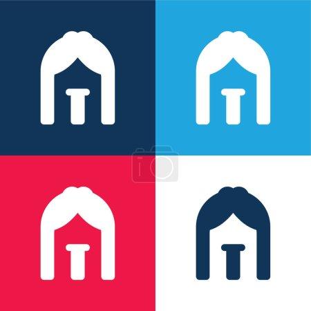 Illustration pour Ensemble d'icônes minime quatre couleurs bleu arc et rouge - image libre de droit