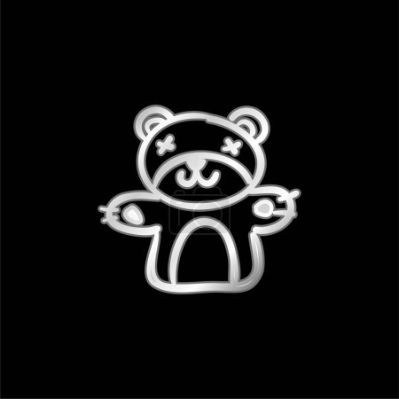 Photo pour Bear Toy icône métallique argentée - image libre de droit
