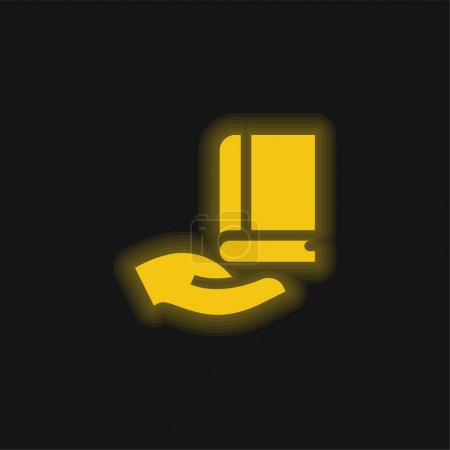 Illustration pour Livre jaune brillant icône néon - image libre de droit