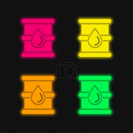 Barril de cuatro colores brillante icono del vector de neón