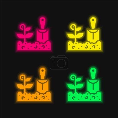 Illustration pour Agriculture quatre couleurs brillant icône vectorielle néon - image libre de droit