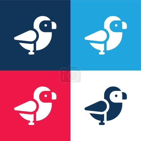 Foto de Pájaro azul y rojo de cuatro colores mínimo icono conjunto - Imagen libre de derechos