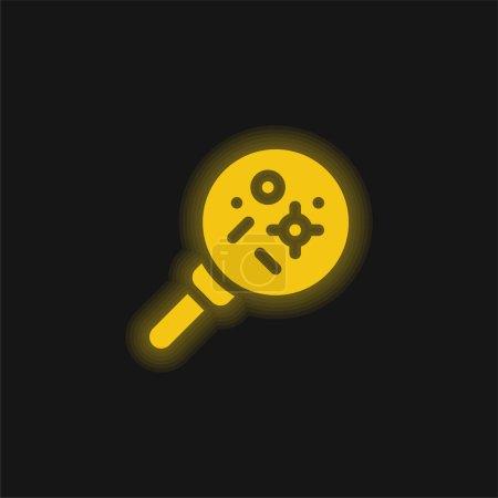 Illustration pour Bactéries jaune brillant icône néon - image libre de droit