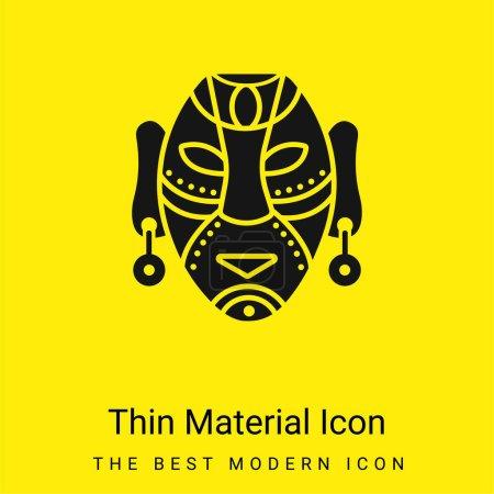 Illustration pour Masque africain minime icône matérielle jaune vif - image libre de droit