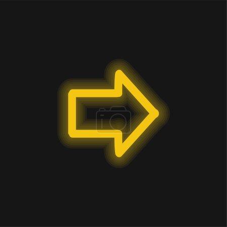Illustration pour Flèche pointant vers la droite Symbole dessiné jaune brillant icône néon - image libre de droit