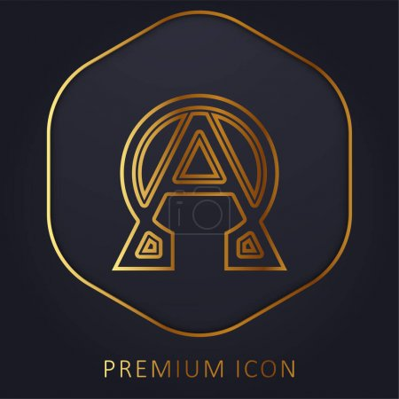 Logo premium de línea dorada Alpha y Omega o icono