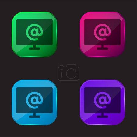 Illustration pour À quatre icône de bouton en verre de couleur - image libre de droit
