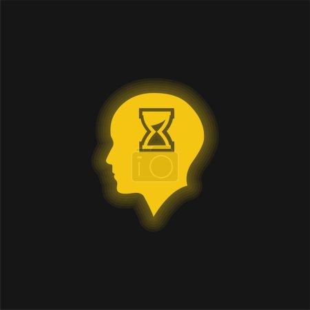 Łysa głowa z klepsydrą w środku żółta świecąca neonowa ikona