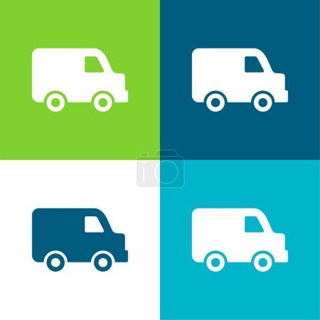 Illustration pour Noir Livraison Petit Camion Vue de côté Ensemble d'icônes minime plat quatre couleurs - image libre de droit