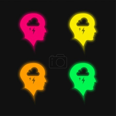 Illustration for Bald Head With Cloud And Storm four color glowing neon vector icon - Royalty Free Image