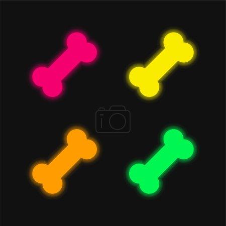 Illustration pour Icône vectorielle néon lumineuse à quatre couleurs - image libre de droit