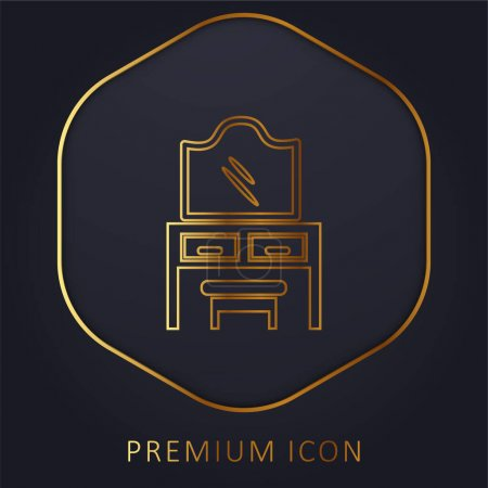 Bedroom Mirror On Drawers With A Seat golden line premium logo or icon