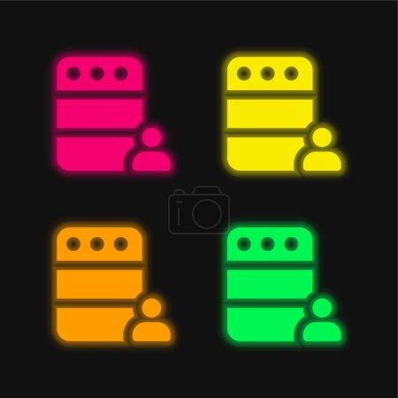Illustration pour Administrateur quatre couleurs rougeoyantes icône vectorielle néon - image libre de droit