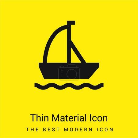 Foto de Barco mínimo icono de material amarillo brillante - Imagen libre de derechos