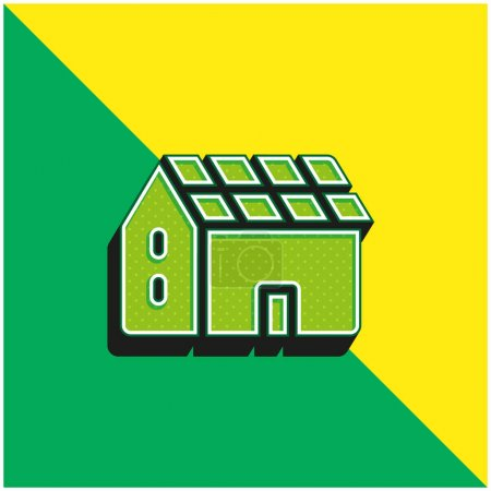 Battery Green and yellow modern 3d vector icon logo