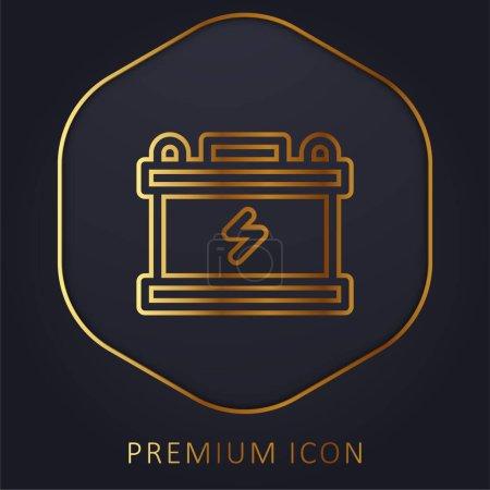 Photo pour Batterie ligne dorée logo premium ou icône - image libre de droit