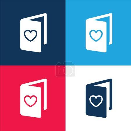 Illustration pour Carte d'anniversaire bleu et rouge quatre couleurs minimum jeu d'icônes - image libre de droit