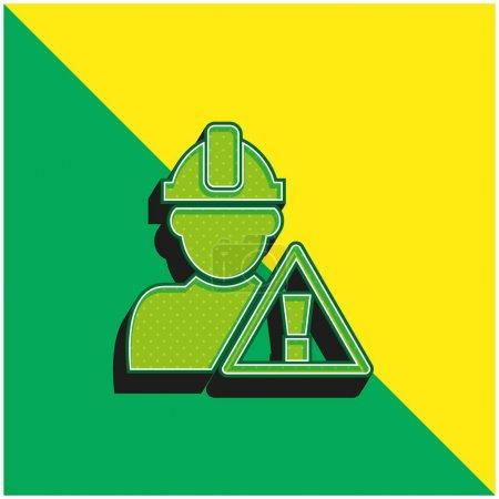 Illustration pour Signal d'attention et travailleur de la construction Logo vectoriel 3d moderne vert et jaune - image libre de droit