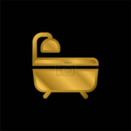 Bath gold plated metalic icon or logo vector