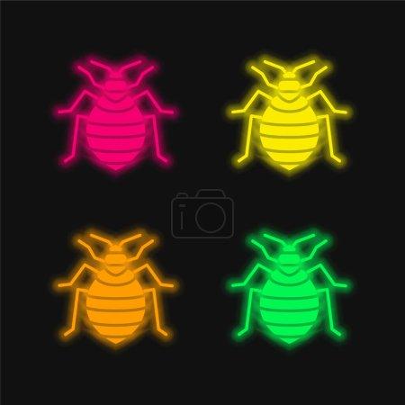 Photo pour Lit Bug quatre couleur brillant icône vectorielle néon - image libre de droit