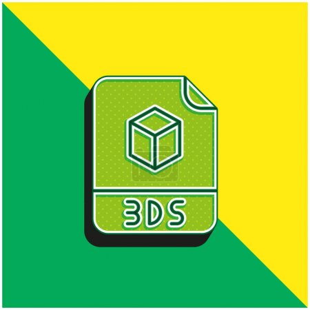 3ds Green and yellow modern 3d vector icon logo