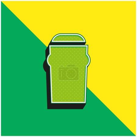 Illustration pour Bière Logo vectoriel 3d moderne vert et jaune - image libre de droit