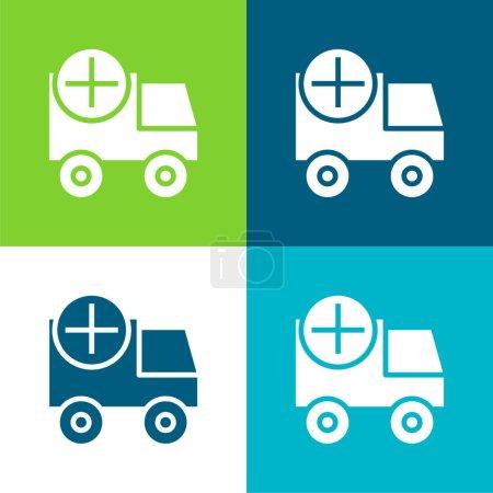 Illustration pour Ajouter plat quatre couleurs minimum jeu d'icônes - image libre de droit