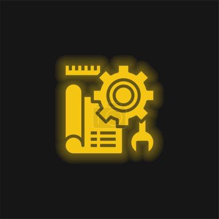 Illustration pour Blueprint jaune brillant icône néon - image libre de droit