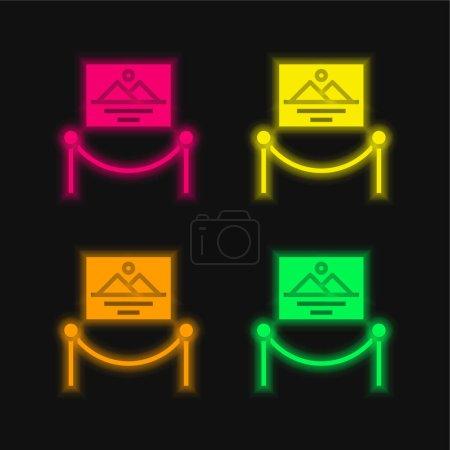 Illustration pour Oeuvre d'art quatre couleur brillant néon vecteur icône - image libre de droit