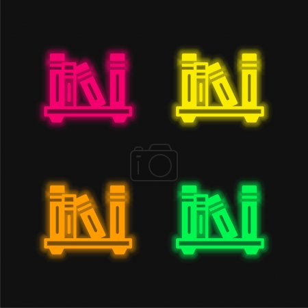 Photo for Bookshelf four color glowing neon vector icon - Royalty Free Image