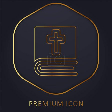 Photo for Bible golden line premium logo or icon - Royalty Free Image