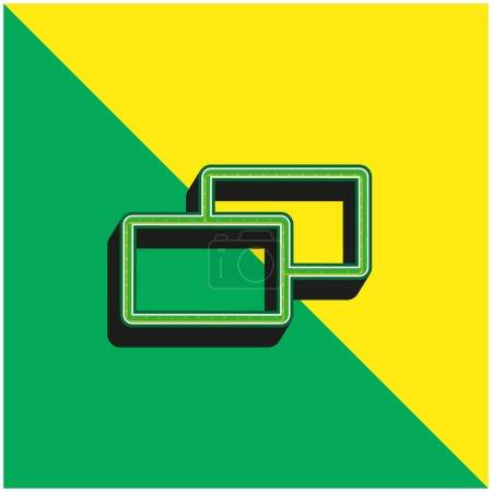 Photo pour Logo vectoriel 3d moderne vert et jaune de 2 carrés - image libre de droit