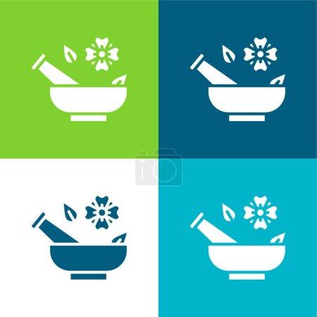 Illustration for Aromatherapy Flat four color minimal icon set - Royalty Free Image