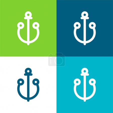Illustration for Anchor Flat four color minimal icon set - Royalty Free Image