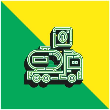 Illustration pour Biodiesel vert et jaune moderne logo icône vectorielle 3d - image libre de droit